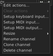 MIDI Channel button menu