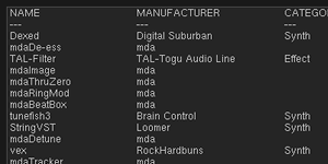 The plug-in list window